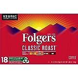 Folgers K Cups Classic Roast Coffee for Keurig Makers, Medium Roast, 72 Count