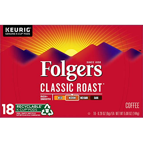 Folgers Classic Roast, Medium Roast Coffee, K-Cup Pods for Keurig K-Cup Brewers, 18-Count (Pack of 4), Packaging May Vary