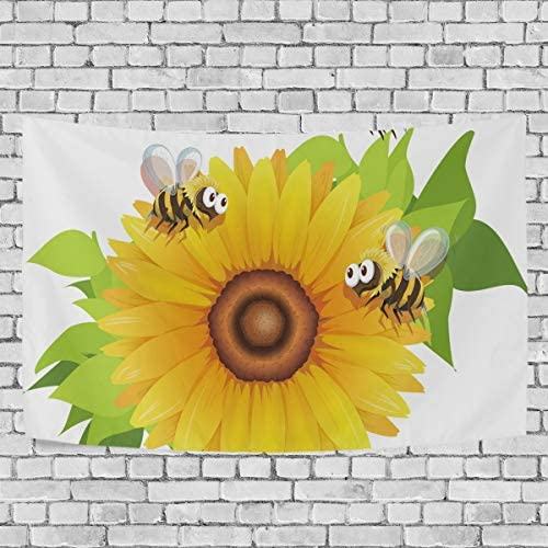 LittleLuck Wall Tapestry Decor Bees Flying Around Sunflower Modern Wall Hanging Artwork Polyester Fabric Cottage Dorm Bedroom Living Room Wall Art Wall Blanket Home Decoration 90 X60