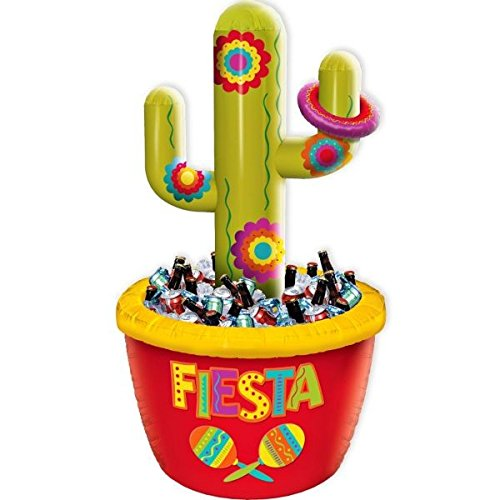 amscan Cinco De Mayo Green Red Cactus Inflatable Plastic Cooler | Party - Fiesta Cooler