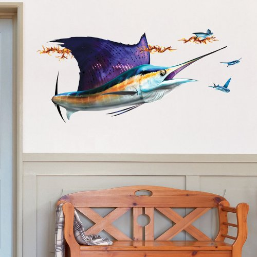 Wall Decals – Sailfish And School of Flying Fish by Bold Wall Art – Right-Facing, Extra-Large (Right Large Mural)