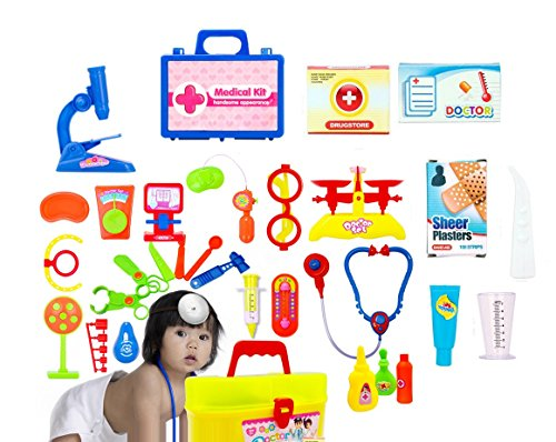 [Cindy&Will 30Pcs Preschool Educational Children First Aid Curative Medical Kit Doctor Toy Equipment Play Set with a] (Shot Doctor Costume)