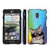 Cat Rainbow - Mobiflare LG Optimus F6 D500 2013 model Slim Guard Armor Black Phone Case