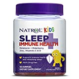 Natrol Kids Sleep+ Immune Health Aid Gummies with Melatonin, Zinc, Vitamin C and D, Elderberry, 50 Count