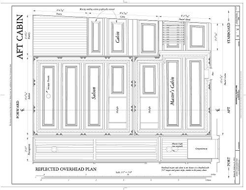 - Historic Pictoric Blueprint Diagram AFT Cabin: Reflected Overhead Plan - Schooner C.A. Thayer, Hyde Street Pier, San Francisco, San Francisco County, CA 14in x 11in