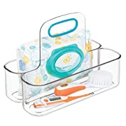 mDesign Kids and Baby Portable Caddy Tote with Handle, Storage Container – Divided Holder and Organizer for Kitchen, Pantry, Nursery Room, Bathroom, Closet Storage – BPA free, Small, Clear/Teal Blue