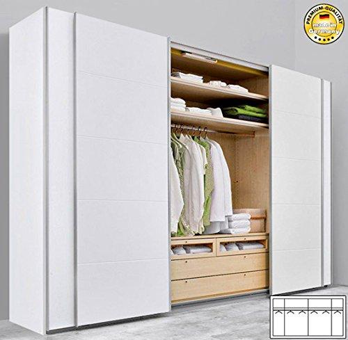 Schwebetürenschrank weiß günstig  Arte M Schwebetürenschrank Kleiderschrank 886417 weiß 302cm günstig