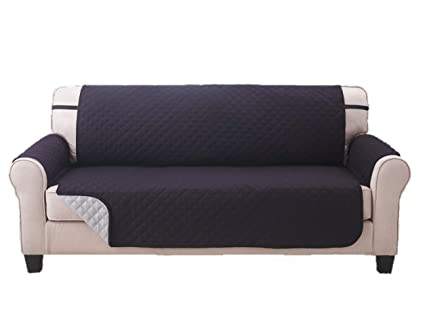 Amazon Com Deluxe Reversible Sofa Furniture Protector Black Grey