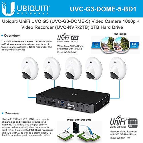Ubiquiti UniFi UVC-G3-DOME-5 Video Camera 1080p Infrared +UVC-NVR-2TB Video Recorder 2TB Hard (3rd Hard Drive)