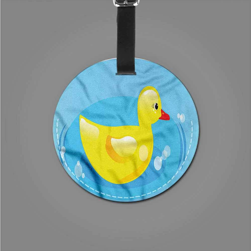 Round Luggage Tags Duckies,Duckling Swimming in Puddle Travel Luggage Label