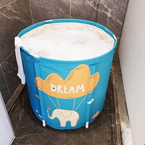 ポータブルバスタブ、折りたたみ式 バースバレル折りたたみ家庭肥厚バスタブ浴槽多目的バースバレル大型折り畳み式のバスタブ65x70cm 大人の子供SPA (Color : Blue-A, Size : 65x70cm)