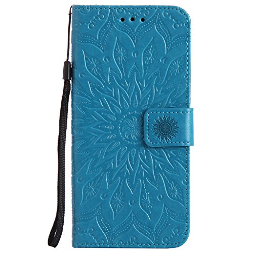 S8 Plus Case,Samsung Galaxy S8 Plus Cover,SMYTU Premium Emboss Sunflower Flip Wallet Shell PU Leather Magnetic Cover Skin with Wrist Strap Case