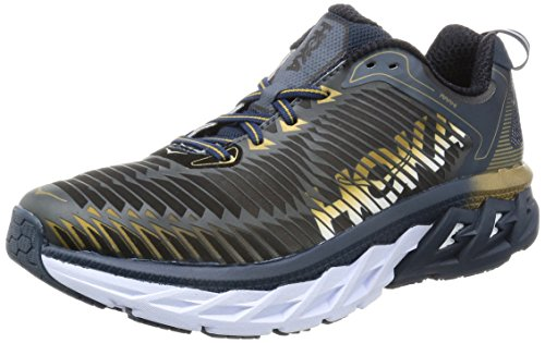 HOKA ONE ONE Mens Arahi Midnight Navy/Metallic Gold Running Shoe - 11 M