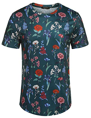 COOFANDY Men's Short Sleeve Rose T Shirt Hipster Hip Hop Floral Printed Street Cotton Tee Shirts(Green,M)
