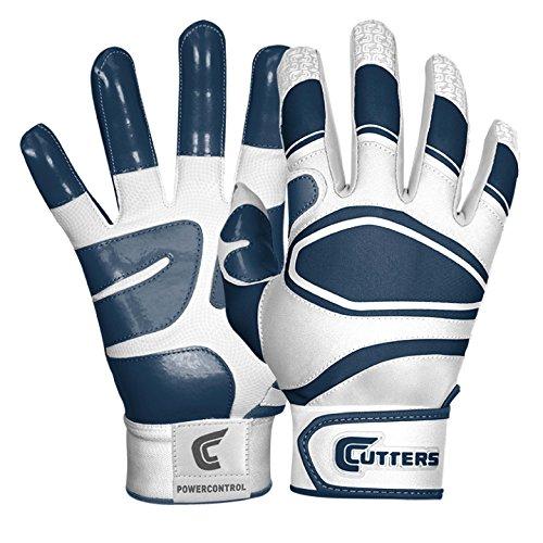 Cutters Gloves Men's Power Control Baseball Batting Glove, White/Navy, Large (Cutters Batting Glove)