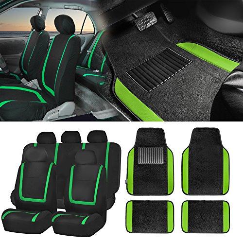 - FH Group FH-FB032115 Unique Flat Cloth Seat Covers w. F14407 Carpet Floor Mats, Green/Black - Fit Most Car, Truck, Suv, or Van
