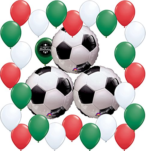 Combined Brands World Cup Soccer Ball Party Supplies Decorations Balloon Theme Bundle For (MEXICO)(IRAN)