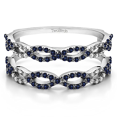 0.63 ct. Diamonds G,I2+Sapphire Ring Guard in 10k White Gold (0.63 ct) (Size 3 to 15 in 1/4 Sizes)