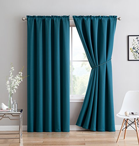Erica - Premium Rod Pocket Blackout Curtains With Tiebacks - 2 Panels - Total 108 Inch Wide (54 Each Panel) - 108