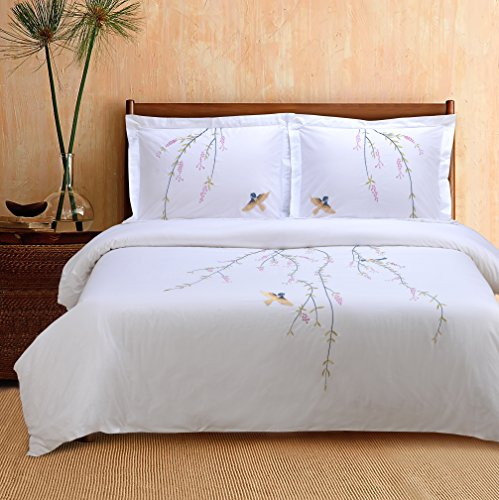 Superior 100% Cotton Percale Embroidered 3-Piece Duvet Cover Set, Full/Queen, (Embroidered Duvet)