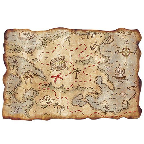 Plastic Treasure Map Party Accessory (1 count) (Pirate Party Costume)
