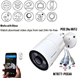 Microseven 1080P Works with Alexa HD POE Cloud Cam,Free 24Hr Cloud,Two-Way Audio Wide Angle (170°) Outdoor IP Camera,Built-in Mic & Speaker 128GB SD Slot, ONVIF, Live Streaming microseven.tv (No WiFi)