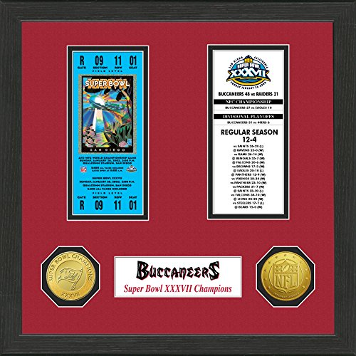 Tampa Bay Buccaneers Sb - The Highland Mint NFL Tampa Bay Buccaneers SB Championship Ticket Collection, Bronze, 18