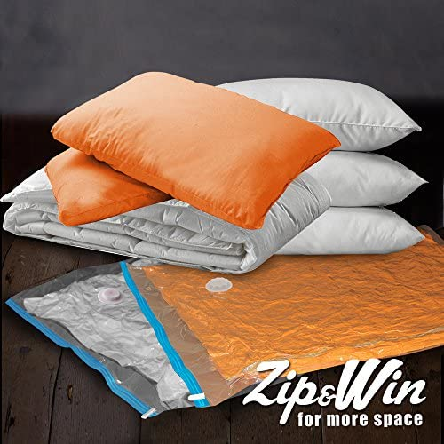 Zip&Win Vacuum Storage Bags 35''x48'' Jumbo Size, Pack of 6 Pieces Space Saver Bags for Seasonal Clothes, Duvets, Pillows, Blankets (+Free Travel Bag)