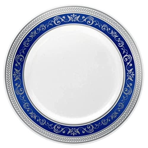 Posh Setting Royal Collection Combo Pack China Look White Silver/Blue Plastic Plates (Includes 4 Packs of 7.25\  Salad Plates A total of 40 plates) Fancy ...  sc 1 st  Amazon.com & Charger Plates Bulk Wedding: Amazon.com