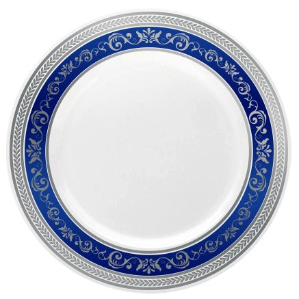 Posh Setting Royal Collection China Look White, Silver/Blue Plastic Plates (Includes 4 Packs of 10.25'' Dinner Plates A total of 40 plates) Fancy Disposable Dinnerware