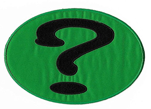 Arkham Knight Riddler Costume (The Riddler ? Logo Patch Fully Embroidered Iron/Sew on Badge - 5.75