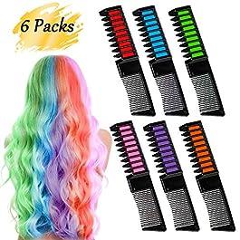 coloration temporaire cheveux Craie Peigne 2 en 1 Peigne coloration Couleur des Cheveux – 6 Packs