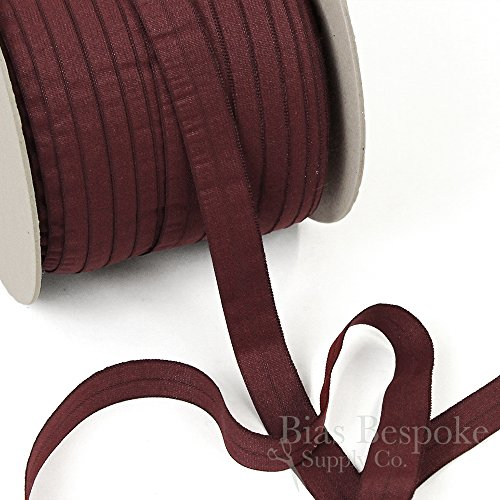 5 Yards of CARA Matte Finish Fold-Over Elastic, Burgundy, Made in Italy ()