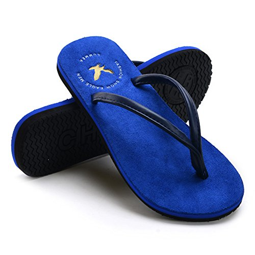 Verano QIDI EU40 UK7 Plano Azul De Color Goma Azul Fondo Zapatos PU Antideslizante Tamaño Sandalias Playa Casual I1wH1qS