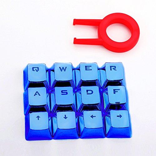 Redragon A103B Mechanical Keyboard Caps 12 Chrome keycaps QWER, ASDF, WASD, Arrow Keys MX Style with Key Puller - Blue Brand: Redragon