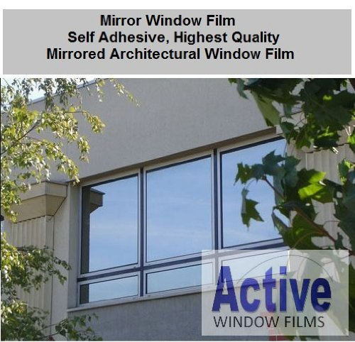 1 Metre x 5 Metre - Silver Reflective Window Film (Solar Control & Privacy Tint - One Way Mirror / Mirrored Glass) Active Window Films