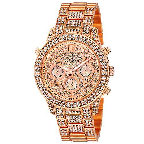 (Akribos XXIV Women's AK776RG Crystal Encrusted Swiss Quartz Movement Watch with Rose Gold Dial and Bracelet)