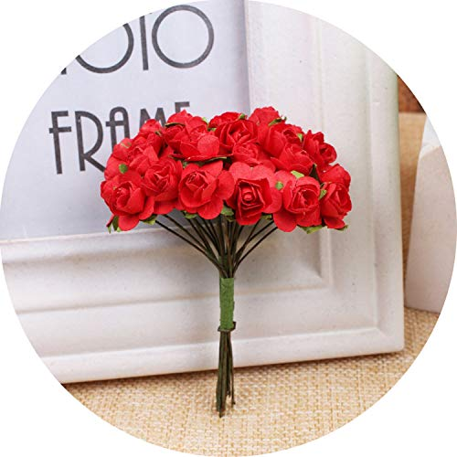 12Pcs 1.5Cm Mini Rose Flower Artificial Flower Home DIY Garland Scrapbooking Fake Flowers,Red