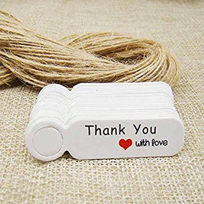 FPTSHOPS Scallop Brown/White Paper Thank You Candy Favors tag Cute Wedding Favors Label tag Price tag 300pcs+300 Elastic String per tag : Garden & Outdoor