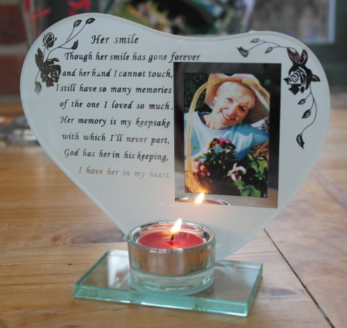 Her smile - Inspirational poem, candle and photo holder glass memorial plaque by Thorness (Picture Candles Memorial)
