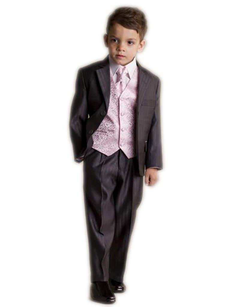 MLT Boy's 3-pieces Vertical Stripe Slim Wedding Suit Set (M) by MLT