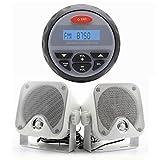 "Marine Radio MP3 USB Bluetooth 2 Way Stereo+2pcs 4"" white speakers for UTV ATV Boat"