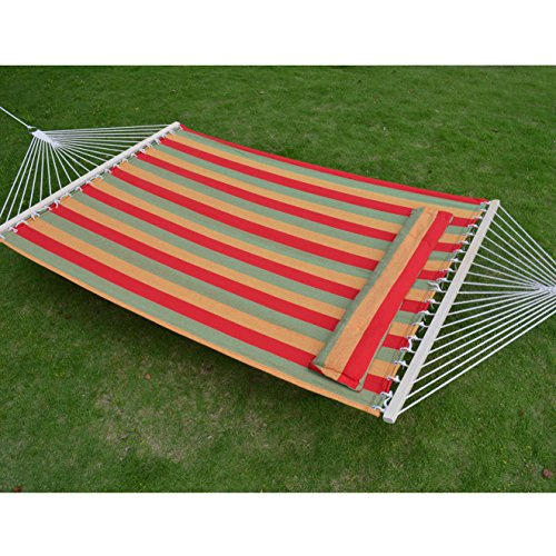 Strong Camel STRIPE-ORANGE-RED Hammock Double Size Quilted Fabric Heavy Duty Sleep Bed W/Pillow + wooden stick (Fabric Large Quilted Hammock)
