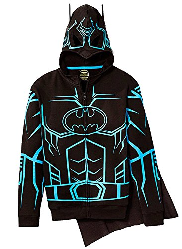 Batman Hoodie Mask (Bioworld DC Comics Batman Glow-in-The-Dark Boys' Fleece Hoodie Sweater - Detachable Cape (L), Black)