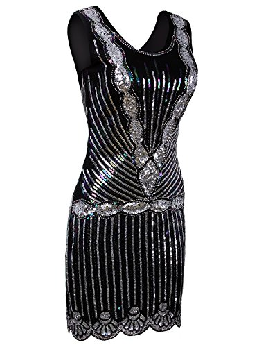 Vijiv Women's Vintage 1920s Inspired Shine Beaded Sequin Art Deco Flapper Dress - 1920s Clothing Style