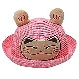 Little Kids Sun Protection Hats,Jchen Kids Baby Boys Girls Breathable Cute Cartoon Lucky Cat Hat Ears Straw Hats for 2-6 Y (Pink)
