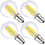 (4-Pack, Warm White) Sunthin 4W E14 Filament LED Bulb, 2700K G45 Golf Shape Small Screw Cup LED Edison Antique Filament Bulb, 40W Incandescent Replacement, (Non-dimmable) by SunT