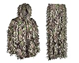 duck blind camo pants - 3D Leafy Camouflage Ghillie Suit Wicked Woods Camo Lightweight With Zippers In The Legs And Pockets (Large)
