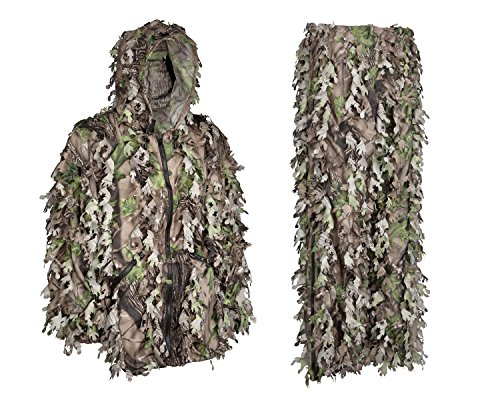 North Mountain Gear 3D Leafy Camouflage Ghillie Suit Woodland Green Camo Lightweight with Zippers in The Legs and Pockets (Large)