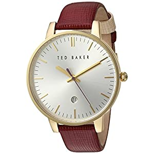 Ted Baker Women's Classic Stainless Steel Japanese-Quartz Watch with Leather Strap, Silver, 16 (Model: 10030739)